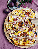 Potato and fig tarte flambée with rosemary and honey