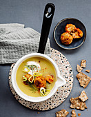 Swedish potato soup with vegetable balls