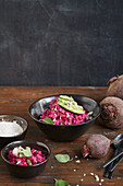 Beetroot tartare with avocado and a creamy horseradish sauce