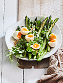 Asparagus and eggs with miso dressing