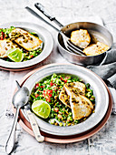 Pan Fried Fish with Broccoli Tabbouleh