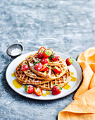 Buckwheat Waffles with Golden Syrup