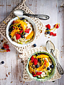 Quinoa and Pear Bircher with Coconut Fruit Salad