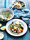 Spinach and Yoghurt Flatbreads with Greek Bean Salad