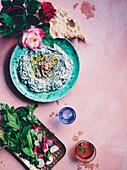 Spicing up Spring - Spinach and yoghurt dip with sabzi khordan