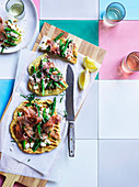 Prosciutto, asparagus and ricotta on grilled flatbread