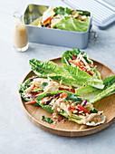 Chicken satay lettuce cups
