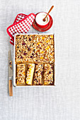Fruit cake with muesli topping