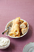 Pancakes with cream filling