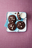 Chocolate biscuits with nuts