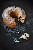 Vegan blueberry cake with powdered sugar