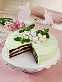 Easter mint cake with sugar eggs
