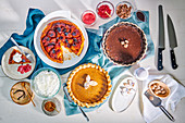 Tarte Tatin, butternut squash pie, chocolate silk tart