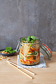 Thai glass noodle salad in a glass jar