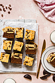 Jaffa Cake Brookies with a layer of sponge and marmalade biscuits