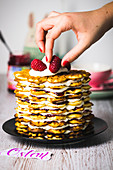 Waffle cake with raspberries for Easter