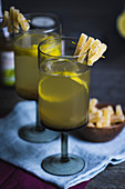 Gooseberry aperitif with fruit jelly