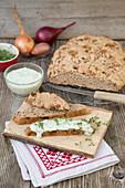 Hearty onion bread with cream cheese spread