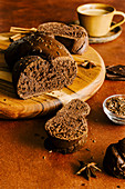 Chocolate brioche braided bread with flax seeds