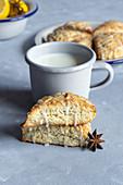 Lemon and poppy seed scones with glaze