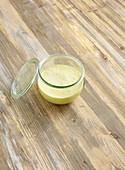 Buckwheat mustard sauce in a glass jar