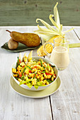 Corn salad with celery and a pepper and pear dressing