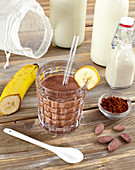 Chocolate oat shake with banana