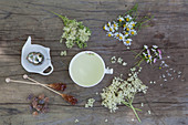 Flower tea with elderflower, chamomile, lady's mantle and daisies