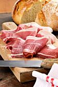 Prosciutto casentino (Tuscan raw ham, Italy)