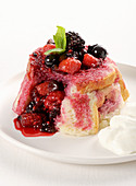 Berry bake with whipped cream