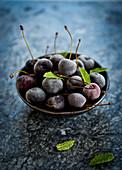 Frozen cherries in a bowl