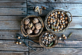 Selection of nuts in wicker baskets