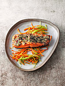 Pepper salmon with vegetable julienne