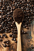 Coffee beans with ground coffee