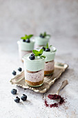 Layered cheesecake in glasses with blueberry fruit powder and blue spirulina