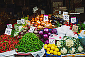 Vegetable stand at the Khlong Toei Market in Bangkok (Thailand)