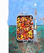 Hähnchen Amatriciana mit Tomaten und Kartoffeln