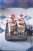 Pots De Creme mit Honignüssen und Granatapfelkernen