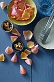 Rose petals and pistachios