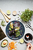 Temaki with vegetable rice, avocado and herbs