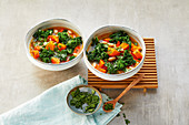 Kale and pumpkin stew with white beans