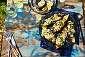 Grilled eggplant with white beans and salsa verde