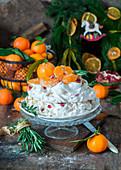 Tangerine Pavlova cake
