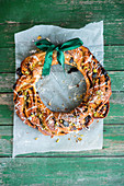Dried fruit and pistachio yeast wreath