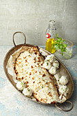 Baked coconut salmon with rice balls