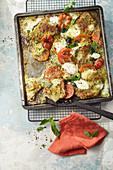 Oven cooked schnitzel Caprese