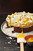 Coconut lemongrass brulee cake with vanilla meringue