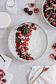 Yogurt with cherries and strawberries