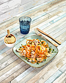 Sweet potato zoodles with cream sauce and mushrooms