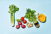 Gemüse, Kräuter Gewürzee auf blauem Untergrund